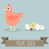 Hen with egg and light bulb. Vector Stock Images