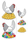 Hen & Eggs. A hen laying some eggs – golden or painted for Easter. You choose! You can also use the eggs or the hen separately. No transparency and Stock Images