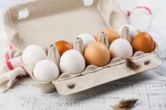 Hen eggs in a basket Stock Photography