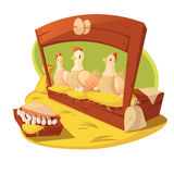Hen And Eggs Cartoon Concept Image stock