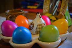 Hen and eggs souvenir by Latvia. Catched in Italy while easter was beginning stock image