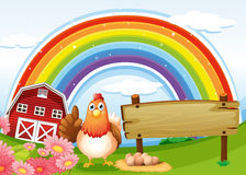 A hen beside the empty board at the farm with a rainbow vector illustration