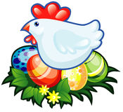 Hen end easter eggs Royalty Free Stock Photo