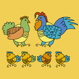 Hen family. Illustration  of folk-style farm family Stock Images