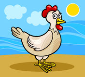 Hen farm animal cartoon illustration Stock Images