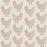 Hen Farm Chicken Retro Pattern Fondo del vector del ejemplo Fotos de archivo