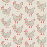 Hen Farm Chicken Retro Pattern Fondo di vettore dell'illustrazione Fotografie Stock
