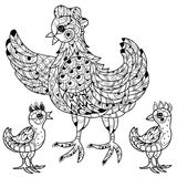 Hen. Hand drawn decorative farm animal Royalty Free Stock Image