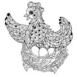 Hen. Hand drawn decorative farm animal Royalty Free Stock Photo