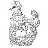Hen. Hand drawn decorative farm animal Stock Image