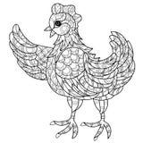 Hen. Hand drawn decorative farm animal Royalty Free Stock Photos