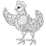 Hen. Hand drawn decorative farm animal Royalty Free Stock Photography