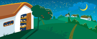 Hen house. At night. Vector illustration Royalty Free Stock Images