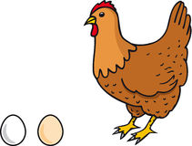 Hen. Illustration hen with two eggs Royalty Free Stock Photography