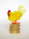 Hen Laying Golden Eggs Stock Image