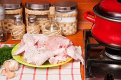 Hen lies on a chopping board Stock Image