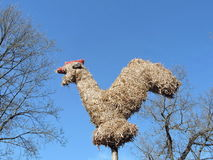 Hen made from straw stock photos