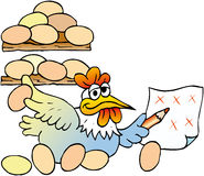 Hen mathematics. Hen egg counts of the henhouse Stock Photos
