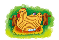 Hen maze Stock Photo