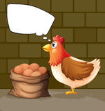 A hen near a sack of eggs thinking Royalty Free Stock Image