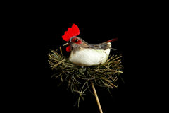 Hen party chicken isolated on hay toy Stock Images