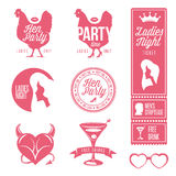 Hen party design elements set. Ladies night stamps Royalty Free Stock Photos