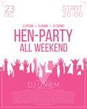 Hen-party flyer or poster design template.   Stock Photos