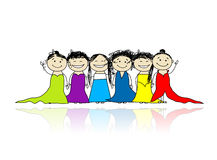 Hen party! Funny friends for your design Royalty Free Stock Images