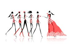 Hen party! Funny friends for your design Royalty Free Stock Photography