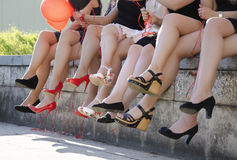 Hen party. Girls at hen party. Naked legs royalty free stock images