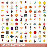 100 hen party icons set, flat style Stock Photos