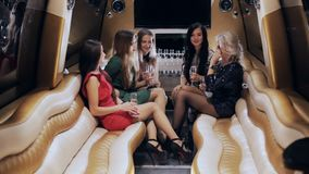 Group of girls in a limousine stock video footage