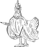 Hen with pencil and book Stock Images
