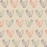 Hen Retro Pattern Fondo di vettore dell'illustrazione del pollo dell'azienda agricola Immagine Stock
