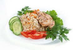 Hen with rice Stock Photography