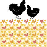 Hen and rooster. Pattern  illustration Royalty Free Stock Image