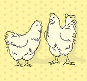 Hen and rooster. Pattern  illustration Royalty Free Stock Photography