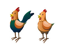Hen and rooster. vector illustration