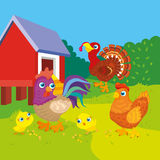 Hen With Rooster And Chickens. Vector illustration of hen with rooster and chickens on farm background Royalty Free Stock Image