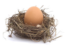 Hen's egg in a nest. On white background Stock Photo