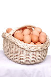 Hen's eggs in the basket. Royalty Free Stock Image