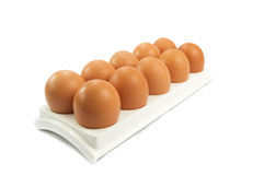 hen's eggs in egg flat isolated over white Stock Photography