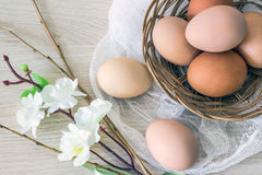 Hen`s eggs in wicker basket and willow to the Easter holiday. Royalty Free Stock Photos