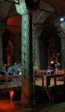 Hen's Eye Column. The Hen's Eye Column in the Basilica Cistern, located in Istanbul Turkey.  The tears on the column are said to pay tribute to the many slaves Stock Photos