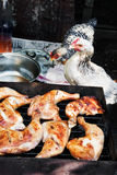 Hen staring at chicken meat on grill Stock Images