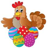 Hen with various Easter eggs Stock Image