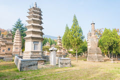 HENAN, CHINA - Nov 09 2015: Talin(Buddhist Pagoda Forest) in Shaolin Temple(World Heritage site). a famous historic site in stock photography