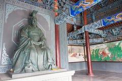 HENAN KINA - NOVEMBER 28 2014: Staty av konungen Wen av Zhou på Youlic Arkivfoton