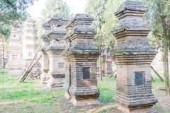 HENAN KINA - November 09 2015: Talin (buddistisk pagodskog) i Sha Royaltyfri Fotografi