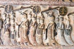 HENAN KINA - Oktober 03 2015: Lättnad på Gongxian grottor en famou Royaltyfri Fotografi